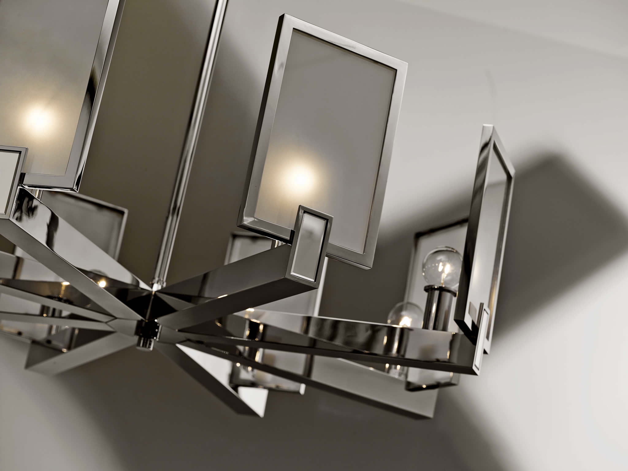 Square Chandelier Top Cascade Light Chrome Finish Clear